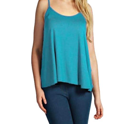 9317815a9e5399 Bravetoshop Women Soild Summer Spaghetti Strap Sleeveless Blouse Casual  Tank Tops Loose T-Shirt at Amazon Women's Clothing store: