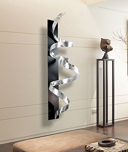 Large silver black d abstract metal wall art sculpture