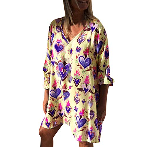 Respctful✿Women Casual Loose V Neck Fit Half Sleeve Short Swing Tunic Shift Dress Loose Bohemian Floral Tunic Dresses Yellow