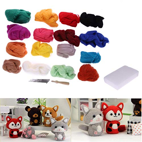 Sewing Kit - 16 Colors Wool Felt With 9 Needle Set Felting Mat Starter Kit Diy Art Handwork Doll Crafts Home - Small Pig Erasable Buttons Scissors Travel Men Marker Tin 9-12