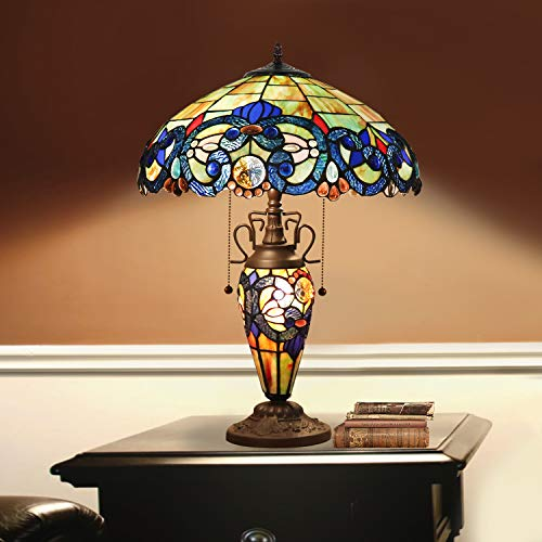 Tiffany Style Table Lamp 3 Light Double Lit Victorian Style Table LampWith 15.7-Inch Classic Shade, Antique Tiffany Lamp Base, Stained Glass Tiffany Lamp for Bedroom, Antique Dresser