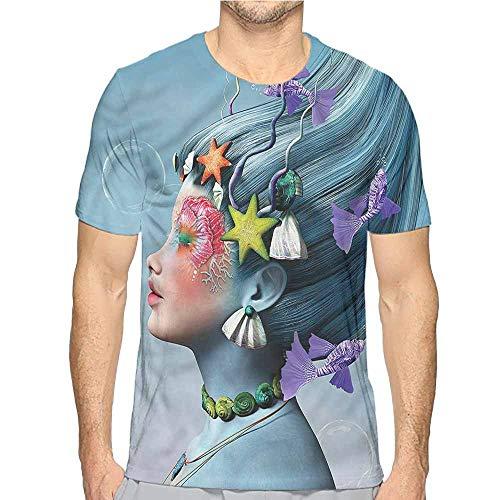 Mens t Shirt Mermaid,Woman Oceanic Hairstyle HD Print t Shirt M