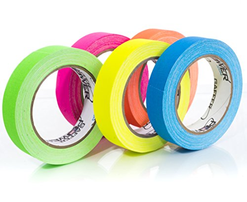 (Professional Premium Grade Gaffers Tape - Heavy Duty Gaff Tape - Secures Cables, Labelling, No Sticky Residue, Multipurpose, 5 Pack UV Blacklight Reactive Fluorescent, 1 Inch x 20 Yards, Multicolor)