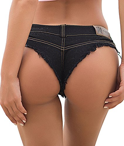 Pink Peach Women's Low Waist Denim Hot Shorts Sexy Club Bikini Thong Beachwear (L, Black)