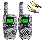 E-WOR Kids Walkie Talkies, 22-Channel FRS/GMRS Radio, 4-Mile Range Two Way Radios with Flashlight and LCD Screen. 2 Pack, Camo Grey