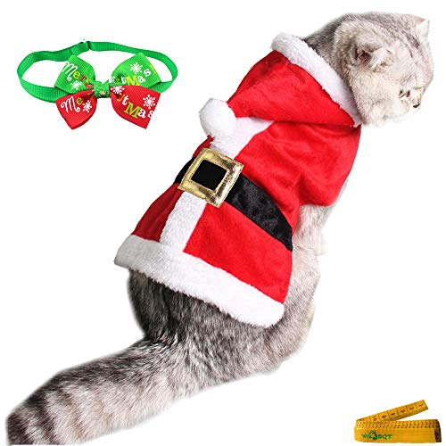 Wiz BBQT Adjustable Christmas Costume Santa Claus Suit with Hood and Collar Bow Tie for Small Cats Dogs Rabbits Puppy Pets Party Outfit -
