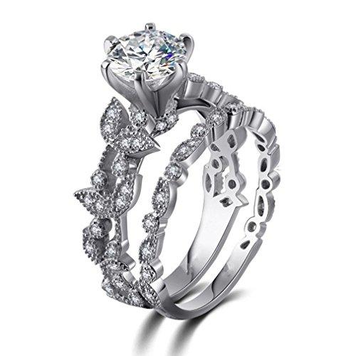 - Dolland Bridal Ring White Round Cubic Zirconia Simulated Wedding Engagement Leaf Ring Size 6-11,Sliver