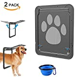 dog doors sliding glass - Pet Dog Screen Door, CATOOP Pet Screen Door Protector for Sliding Door with One Collapsible Silicone Pet Dog Cat Bowl Automatic Lock/Lockable 2 PACK