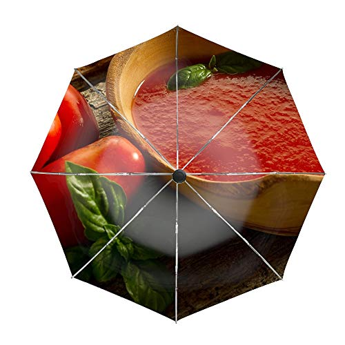 (Travel Umbrella, 8 Ribs Finest Windproof Tomatoes Juice Kitchen Utensils Leaves Table Umbrella with Teflon Coating, Auto Open Close and Upgraded Comfort Handle )