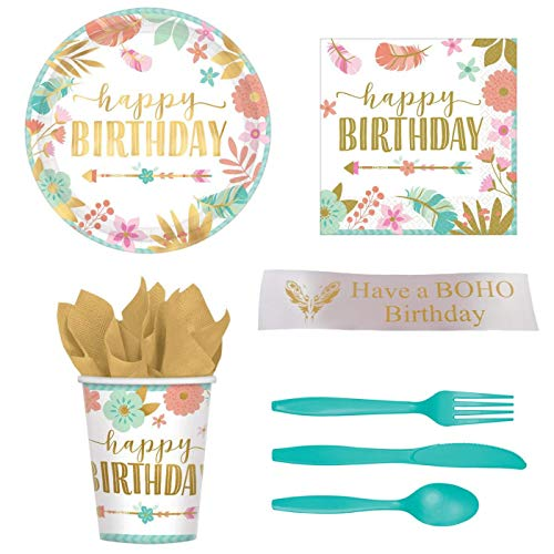 BOHO Birthday, Girl Birthday Party Supplies Kit With Plates, Napkins, Cups, Plastic Ware and Bonus Printed Ribbon]()