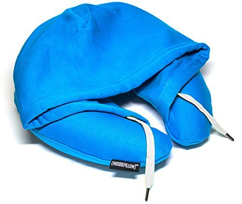 HoodiePillow Inflatable Neck Pillow for Airplane Travel, Car, Train or Relaxing at Home. Compact, Comfortable for Your Neck and Includes Privacy Hood - Blue