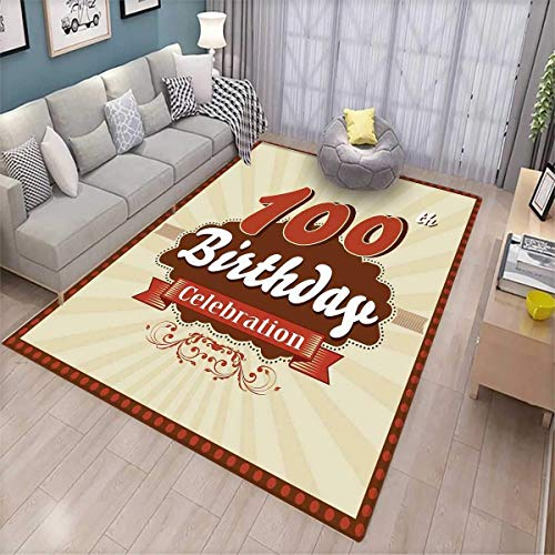 100th Birthday Customize Door mats for Home Mat Chocolate Wrap Like Brown Party Invitation Hundred Years Celebration Door Mat Outside 5'x7' Cinnamon and Cream