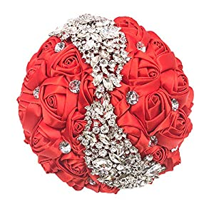 Abbie Home Silver Brooch Bouquet - Bride Wedding Bouquets Bridesmaids Satin Rose Flower with Sparkle Rhinestone Crystal Decoration (Red) 38
