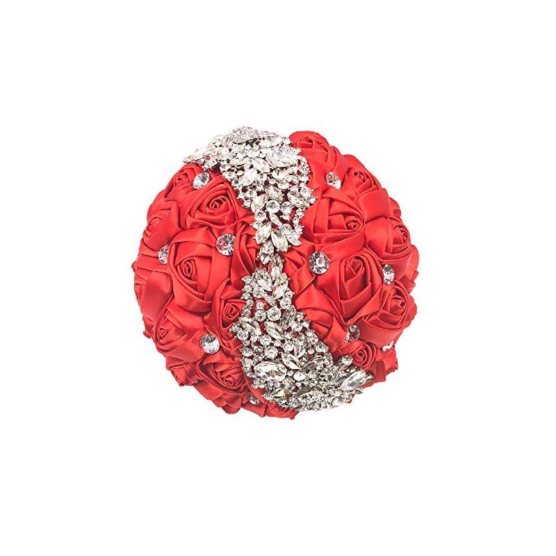 silk flower arrangements abbie home quinceanera silver brooch bouquet - bride wedding bouquets bridesmaids satin rose flower with sparkle rhinestone crystal decoration (red)