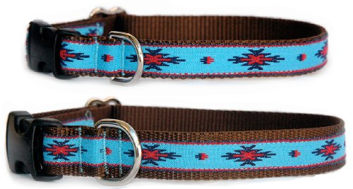 Ethnic pattern dog collar : Native American turquoise ribbon dog collar. Navajo, Santa Fe, Southwestern & Native American influenced handmade hight quality designer dog collar for puppies, small dogs to large dogs. Made in the U.S.A. Size M