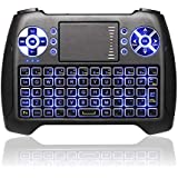 BlazeBox (2018 Latest, Backlit) 2.4GHz Mini Wireless Keyboard with Touchpad Mouse Combo, Rechargable Li-ion Battery & Multi-Media Handheld Remote for Google Android TV Box,PS3,PC,PAD