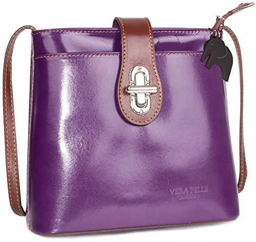 Big Leather Handbag Italian Bg789 Genuine Cross Real Body Trim Womens Shop Bag Mini Purple Brown BFxqBf0