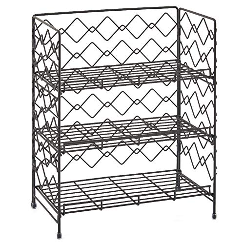 3-Tier Organizer Rack, EZOWare Wire Basket Storage Container Countertop Shelf for Kitchenware Bathroom Cans Foods Spice Office and more - Black (Shelves Baskets Bathroom Storage)