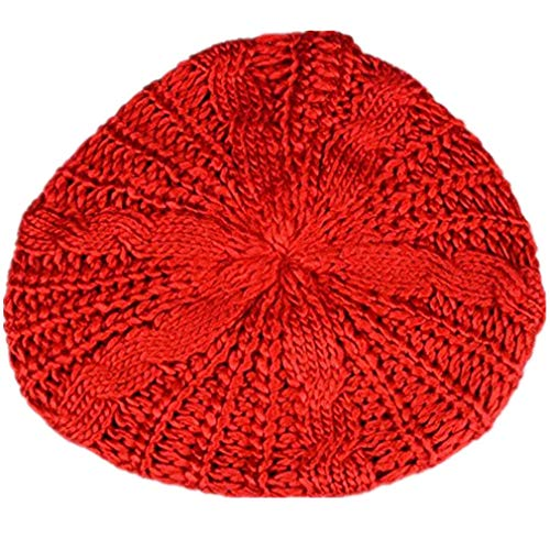 TWGONE Womens Beret Hats Winter Warm Knit Baggy Beanie Ski Hat Slouchy Chic Bailey Cap(Red,One Size)