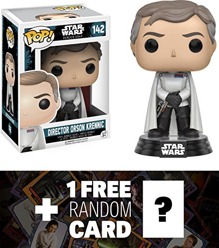 Director Orson Krennic: Funko POP! x Star Wars Rogue One Vinyl Bobble-Head Figure w/ Stand + 1 FREE Official Star Wars Trading Card Bundle (104593)