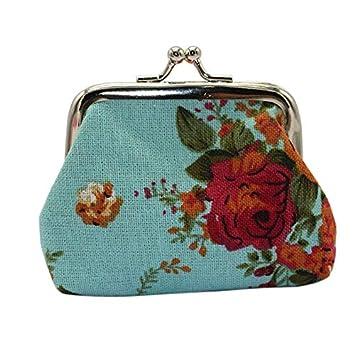 HermosaUKnight Flor de Rosa Plegable Lindo Gato Monedero Monedero Mujer Lienzo All-Match Wallet-