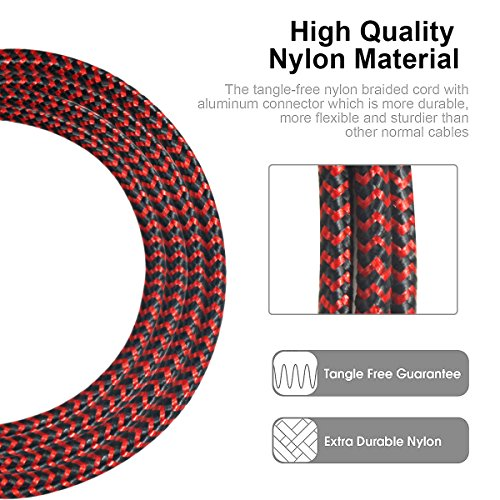 USB Type C Cable, Disveo 4 Packs(3ft/6ft/6ft/10ft) Fast Charger Sync Cord Durable Nylon Braided USB Cable for Samsung Galaxy S8,S9, Note 8, S8 Plus, LG V30 V20 G6, HTC 10Google Pixel (Black and Red) by Disveo (Image #3)