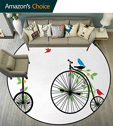 (Bicycle Rug Round Home Decor Area Rugs,Flying Birds and Flowers On Old Single Wheel Bikes Happiness and Joy Pedals Graphic Non-Skid Bath Mat Living Room/Bedroom Carpet Round-63 Inch,Multicolor)