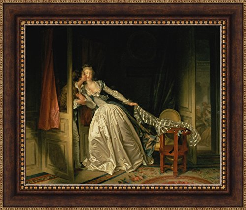 Jean-Honoré Fragonard The Stolen Kiss Framed Canvas Giclee Print - Finished Size (W) 33.5'' x (H) 28.5'' [Bronze/Gold] (S02-11Q-MD804-80) - Enhanced Image (The Stolen Kiss By Jean Honore Fragonard)