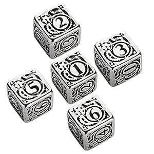Q WORKSHOP Metal Steampunk 5D6 Ornamented Dice Set