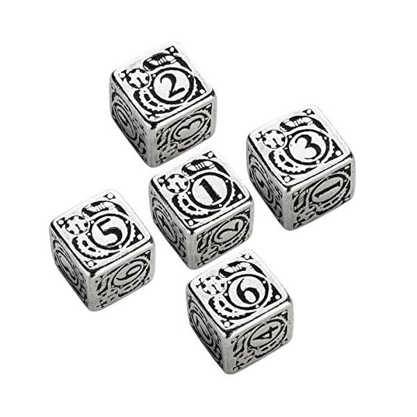 Q WORKSHOP Metal Steampunk 5D6 Ornamented Dice Set 3