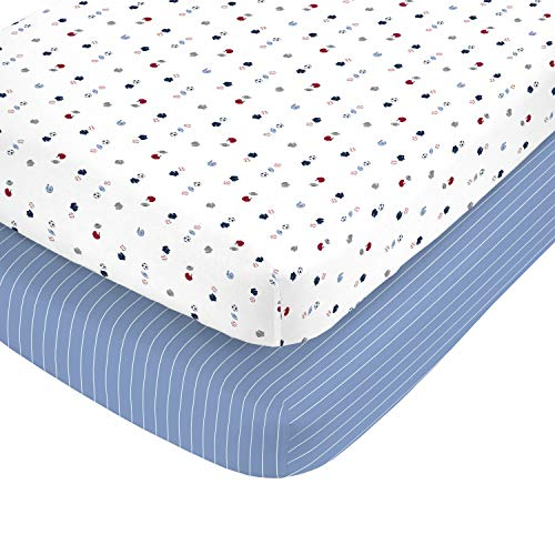 Carter's 100% Cotton Sateen 2 Piece Fitted Crib Sheets, Sports and Blue with White Stripe, Navy/Red/Blue/White