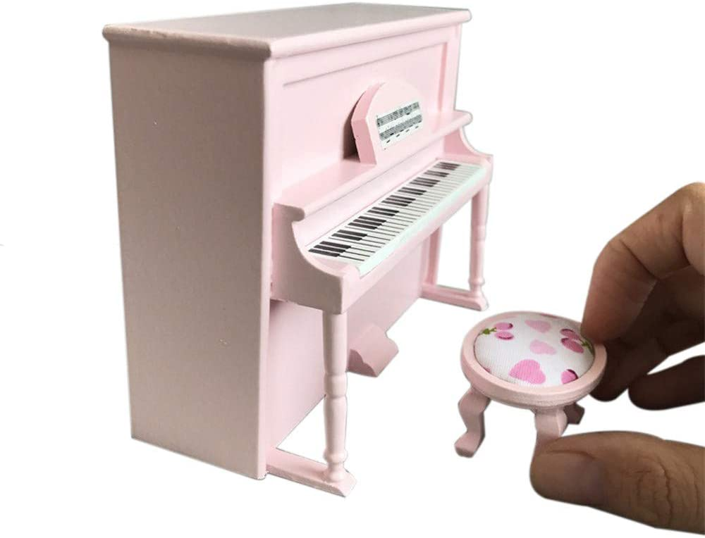 Onegirl 1/12 Dollhouse Accessories and Furniture, Wooden Black Upright Piano Furniture Decor for 1:12 Miniature Dollhouse DIY Accessories Live Room Bedroom Decoration (Pink)
