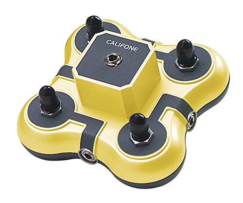 Califone 1114YL 4-Position Mini Stereo Jackbox, Yellow, Four 3.5mm listening positions for most listening groups, Rugged ABS plastic casing for durability and school safety