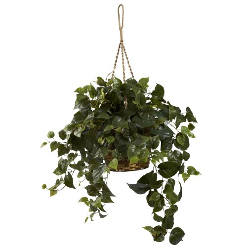 Nearly Natural 6736 Philo Hanging Basket, Green -