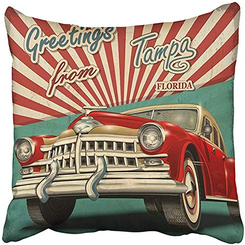 18X18 Inch Decorative Throw Pillow Cover Polyester Old Vintage Touristic with Retro Car Tampa Florida Greetings 1950S 1960S 1970S 40S Aged Cushion Two Sides Pillow Case Square Print for Home