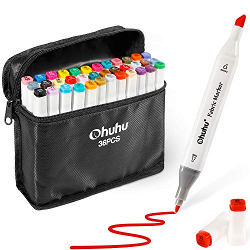 Fabric Markers Permanent 36 Colors of Ohuhu Dual Tip Fabric Paint Marker Pens for DIY Christmas Costumes, T-Shirt, Clothes, Shoes, Bags & Other Fabric Materials, Child Safe, Water-Based & Non-Toxic]()