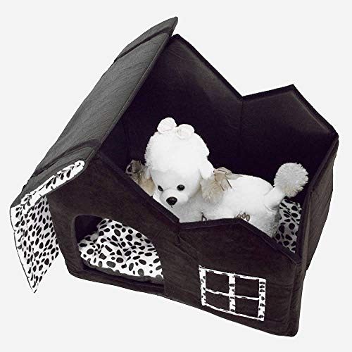 B&T Dog Cat Bed House Warm Breathable Soft Pet Nest Dog Sofa Cushion Cat Litter Super Warm Kennel Beds Nests Super Soft British Style Pet House Size M Coffee