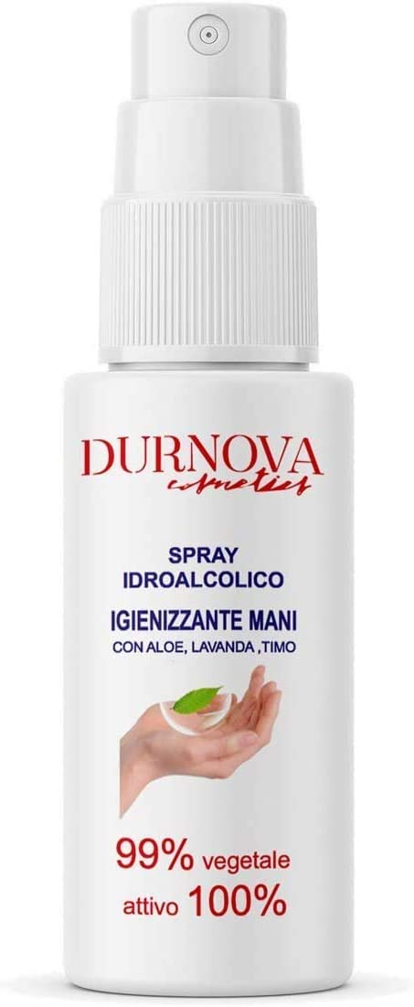 Durnova Cosmetics - Higienizante para manos hidroalcohólico, spray 100 ml, activo 100 %, 99 % vegetal con aloe, lavanda y tinte