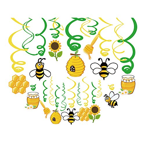 Kristin Paradise 30Ct Bee Honey Hanging Swirl Decorations, Bumblebee Gender Reveal Party Supplies, Bumble Birthday Theme, Beeday Baby Shower Paper Decor, Bee Day Favors for First 1st Boys Girls Bday (Best Day For Baby Shower)