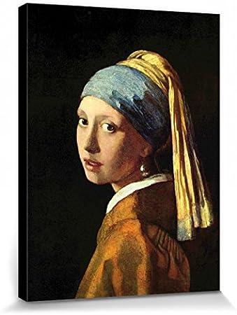 1art1 Johannes Vermeer - La Joven De La Perla, 1665 Cuadro, Lienzo Montado sobre Bastidor (40 x 30cm)