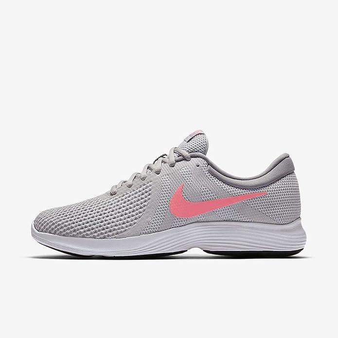 Nike Revolution 4 Sneakers Laufschuhe Damen Grau mit rosa Streifen
