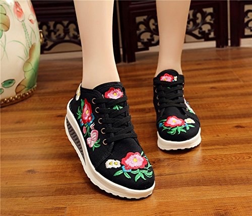 Womens Shoes Embroidery Lace Black AvaCostume Sneaker Platform Casual Up q06xwx1d