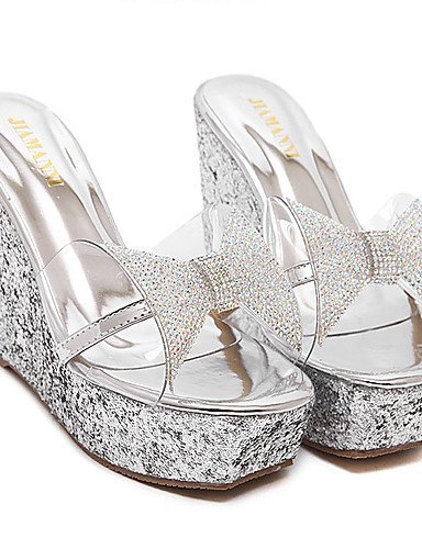 Jushee - Zapatos de vestir de Material Sintético para mujer Blanco Glitter-Silver 7l16J
