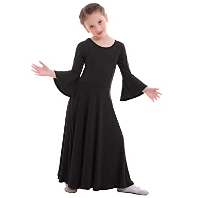 0cbd1b402 IBTOM CASTLE Girls Long Sleeve Full Length Liturgical Praise Lyrical Dance  Dress Loose Fit Dancewear Costumes