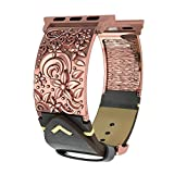 Fresheracc Apple Watch Bands 38mm Women Men, 3D Floral Vintage Genuine leather iWatch Replacement Straps, Handmade Fashion Wristband for Apple Watch Series 3, 2, 1 (Retro Gold 38mm)