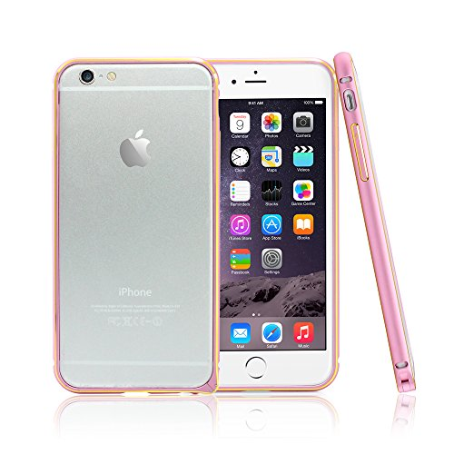 GEARONIC TM Luxury Dual Color Metal Aluminum Alloy Bumper Hard Frame Shell Case Cover for 4.7 iPhone 6 6S- Pink
