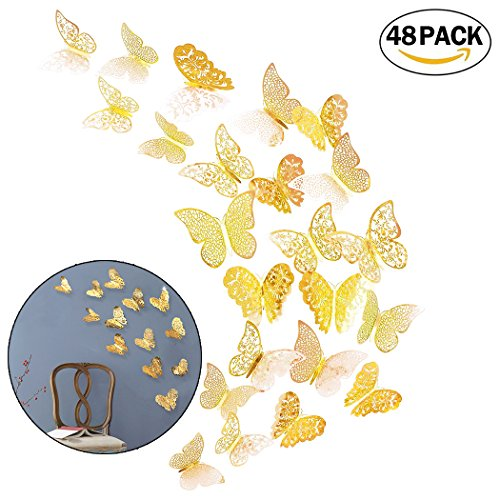 Creatiee 48Pcs Butterfly Decorations, 3D Wall Decals|Metallic Art Sticker, DIY/Handmade/Removable/Pressure Resistance Paper Murals Gift for Home Kids/Girls Bedroom Nursey Party Décor (Gold Style)