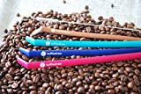 Koffie Straw 2 Reusable KoffieStraws to limit stains on your teeth (4-Pack Mocha Navy Plum Surf)