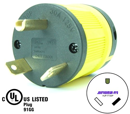 Journeyman-Pro NEMA TT-30P, 30 Amp, 125 Volt, Straight Blade Male RV Trailer Plug Connector, Black/Yellow Industrial Grade, Grounding 3750 Watts Generator TT30 (TT30P-YELLOW)