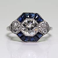 LALISA Art Deco Antique 925 Jewelry Blue Sapphire Wedding Engagment Silver Plated Rings (9)